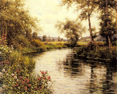 Flowers in Bloom by a River by Louis Aston Knight