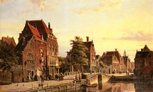 Figures by a Canal in a Dutch Town by Willem Koekkoek