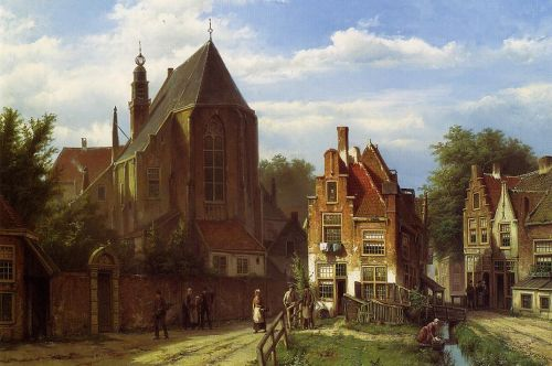 Figures in a Dutch Town by Willem Koekkoek