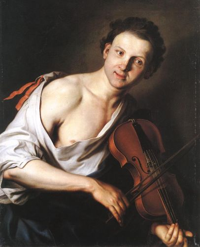 Young Man with a Violin by Jan Kupecky