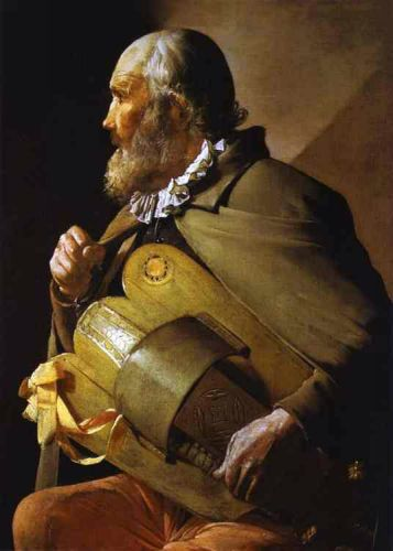 Hurdy-Gurdy Player with a Ribbon by Georges de La Tour