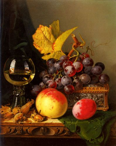 Still Life of Black Grapes by Edward Ladell