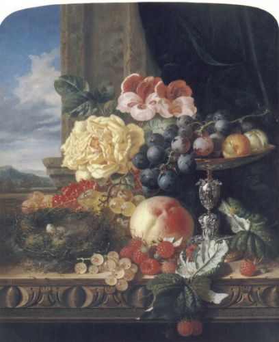 Still Life with Fruit, Flowers and a Bird's Nest by Edward Ladell
