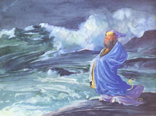 A Rishi calling up a Storm, Japanese folklore by John LaFarge