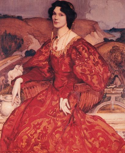 Sybil Walker in Red and Gold Dress by George Lambert