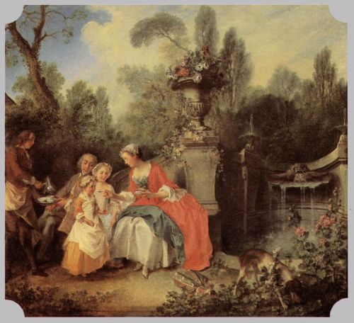 Lady and Gentleman with two Girls and a Servant by Nicolas Lancret