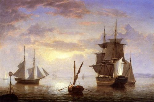 Ships in a Harbor, Sunrise by Fitz Hugh Lane