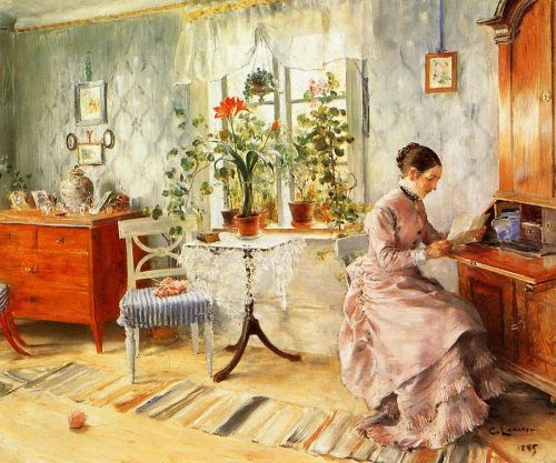 An Interior with a Woman Reading by Carl Larsson