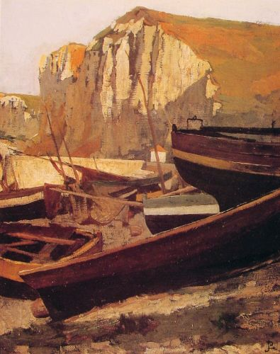Boats at the foot of a cliff in Normandy by Jean-Paul Laurens