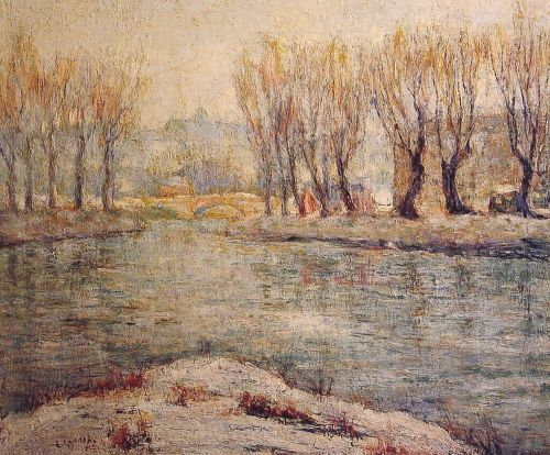 End of Winter: The Boathouse on the Harlem River, New York by Ernest Lawson