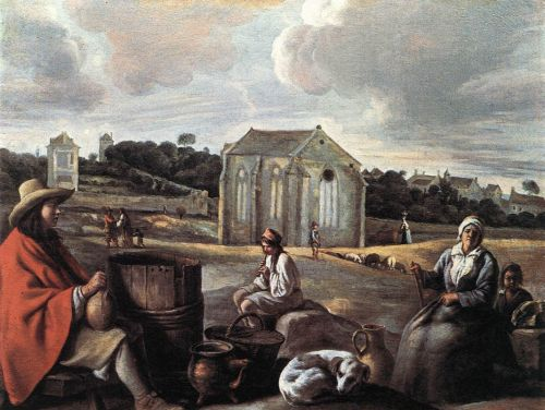 Landscape with Peasants and a Chapel by Le Nain Brothers