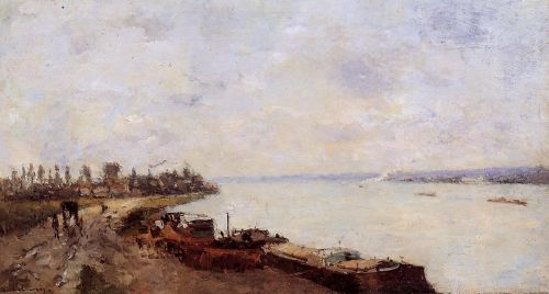 Barges on the Seine, near Paris by Albert Lebourg