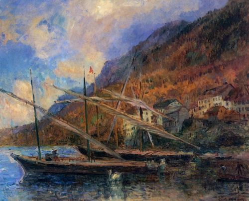 Boats by the Banks of Lake Geneva at Saint-Gingolph by Albert Lebourg