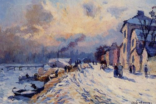 Near Rouen, Snowy Weather by Albert Lebourg
