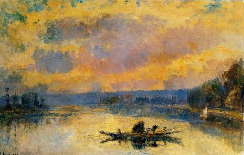 The Ferry at Bouille, Sunset by Albert Lebourg