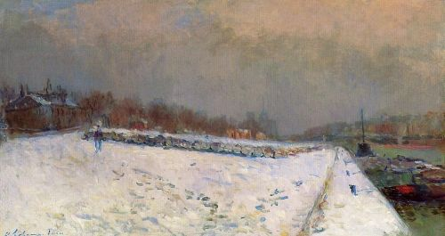 The Port of Bercy, in Winter, Snow Effect by Albert Lebourg