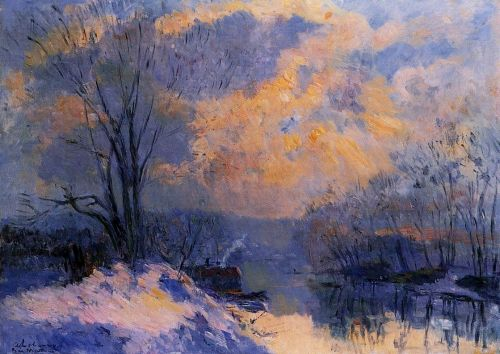 The Small Branch of the Seine at Bas-Meudon: Snow and Wiint by Albert Lebourg