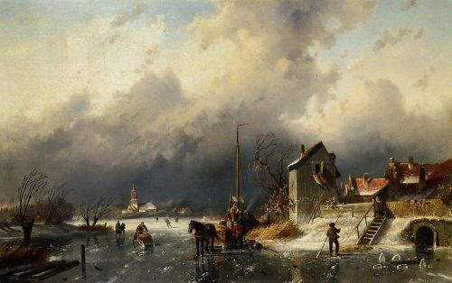 A Frozen River Landscape with a Horsedrawn Sleigh by Charles Henri Joseph Leickert