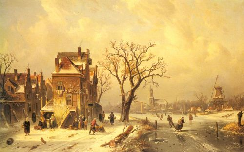 Skaters in a Frozen Winter Landscape by Charles Henri Joseph Leickert