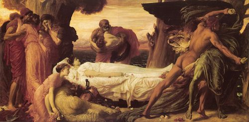 Hercules Wrestling with Death for the Body of Alcestis by Frederick Leighton