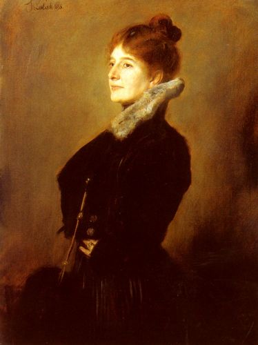 Portrait Of A Lady Wearing A Black Coat With Fur Collar by Franz von Lenbach