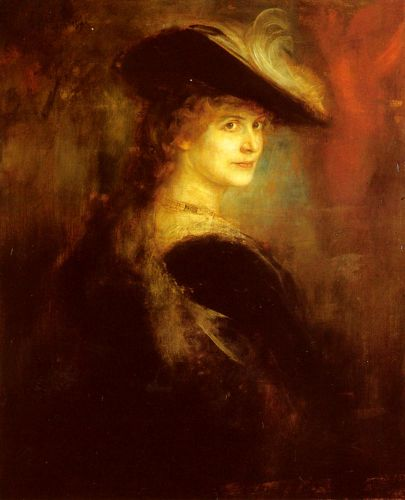 Portrait Of An Elegant Lady In Rubenesque Costume by Franz von Lenbach