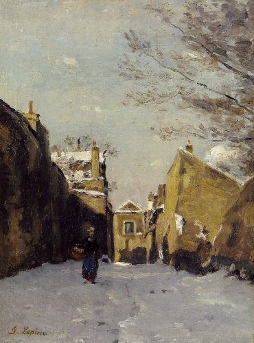 Street in Montmartre, Snow Effect by Stanislas Lépine