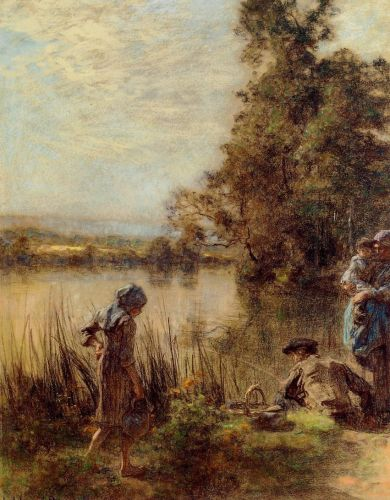 Fisherman and His Family by Leon Augustin Lhermitte