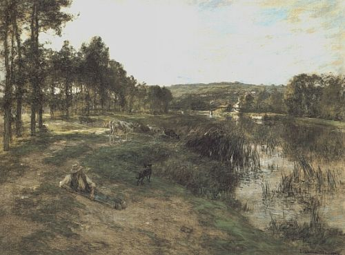 Herd at the Edge of water by Leon Augustin Lhermitte