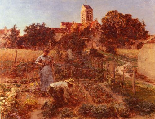 In the Garden, Charteves, Close to Mont-Saint-Pere by Leon Augustin Lhermitte
