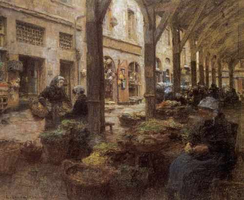The Covered Vegetable Market, St Malo by Leon Augustin Lhermitte