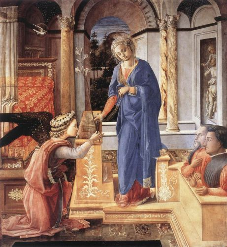 The Annunciation with two Kneeling Donors by Frà Filippo Lippi