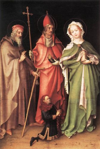 Saints Catherine, Hubert and Quirinus with a Donor by Stephan Lochner