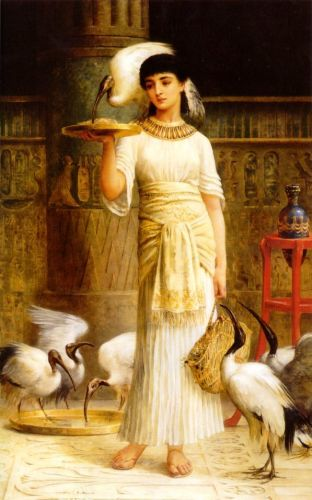 Ale the Attendant of the Sacred Ibis in the Temple of Isis by Edwin Long