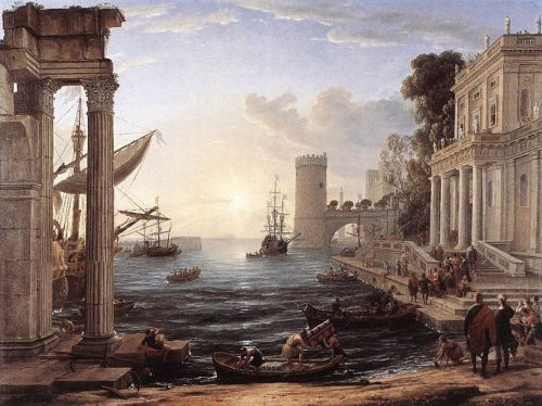 Seaport with the Embarkation of the Queen of Sheba by Claude Lorrain
