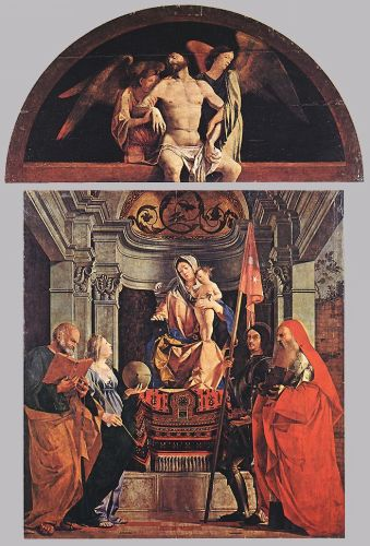 Madonna and Child with Sts Peter, Christine, Liberale, and Jerome by Lorenzo Lotto