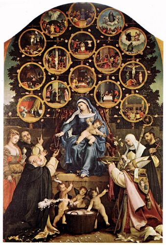Madonna of the Rosary by Lorenzo Lotto