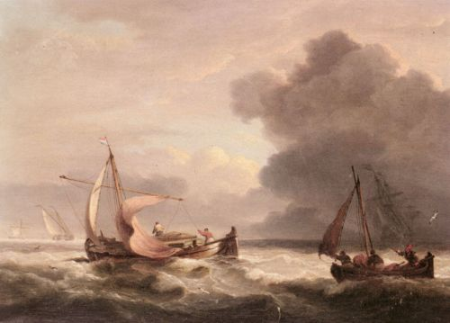 Dutch Barges In Open Seas by Thomas Luny
