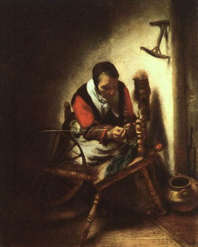 A Woman Spinning by Nicolaes Maes