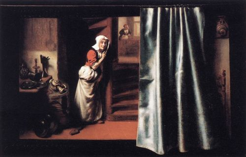 Eavesdropper with a Scolding Woman by Nicolaes Maes