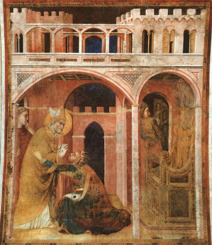 Life of St Martin: Miracle of Fire by Simone Martini