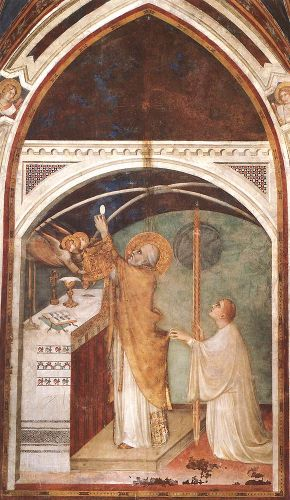 Life of St Martin: Miraculous Mass by Simone Martini