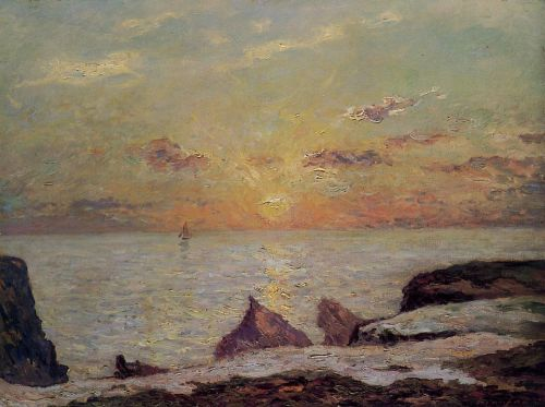 On the Cliffs of Belle Isle on Mer, Sunset by Maxime Maufra