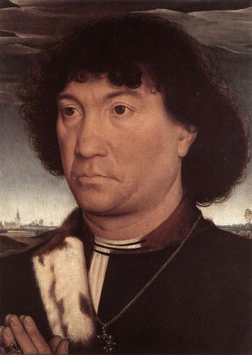 Portrait of a Man at Prayer before a Landscape by Hans Memling