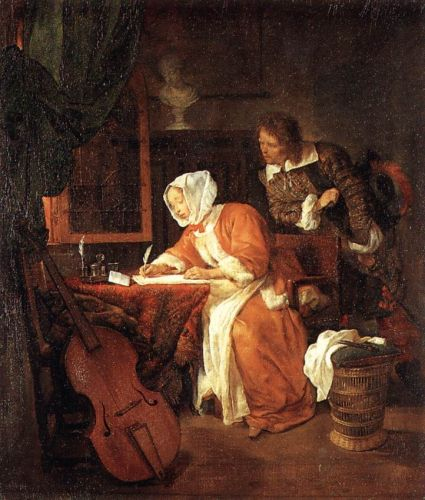 The Letter-Writer Surprised by Gabriel Metsu