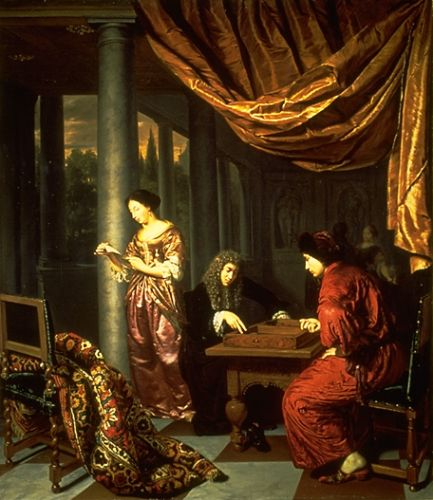 Interior with figures playing Tric Trac by Frans van Mieris
