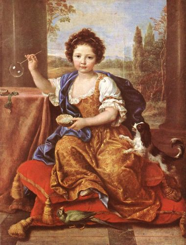 Girl Blowing Soap Bubbles by Pierre Mignard