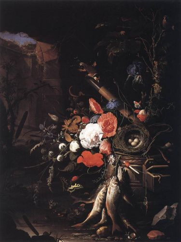 Still-Life with Fishes and Bird Nest by Abraham Mignon