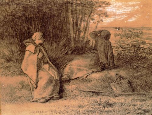 Shepherdesses Seated In The Shade by Jean François Millet