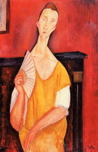 Lunia Czechowska with a Fan by Amedeo Modigliani